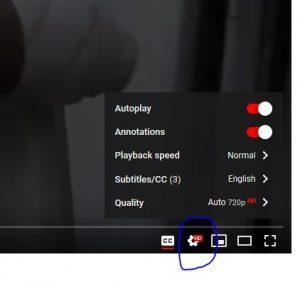 Het wieltje om voor de ondertiteling te kiezen